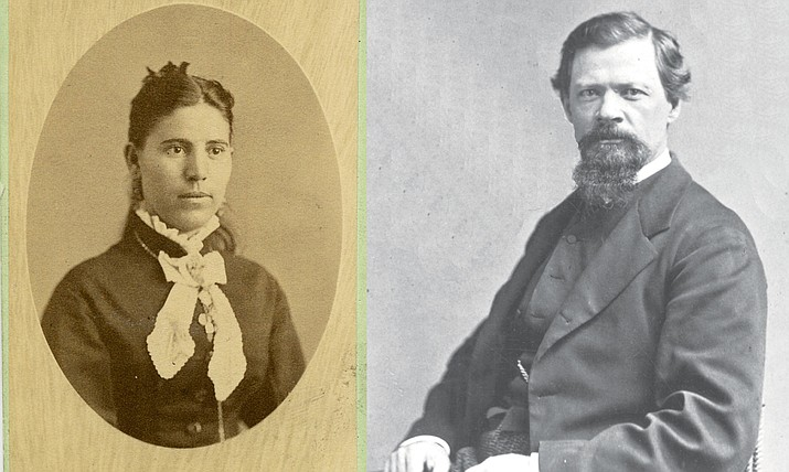 """LEFT: Mary Jane Oswald Allen. Call #1700.0220.0000. Right: Charles D. Poston, Territorial Arizona's first delegate to the U.S. House of Representatives and political rival of Richard McCormick, is considered by many as the """"Father of Arizona."""" He died June 24, 1902. (Sharlot Hall Museum Research Center/Courtesy)"""