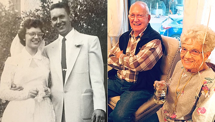 Ben and Jo Beagle met in high school in Laramie, Wyoming. Both were born in November of 1934. They were married in the First Baptist Church in Laramie on June 20, 1954.The couple is shown then and now. (Courtesy photos)