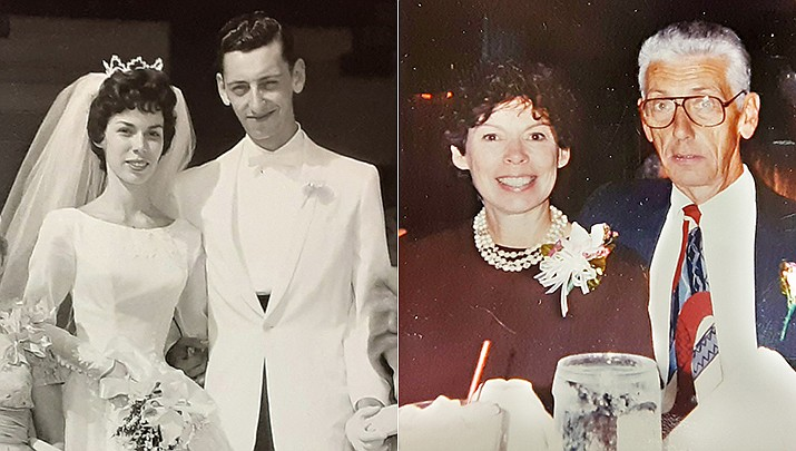 Eugene (Gene) and Josephine (Jo) Zutell were married at St. Michael's Church in Cranford, New Jersey, on June 18, 1961. The couple is shown then and now. (Courtesy photos)