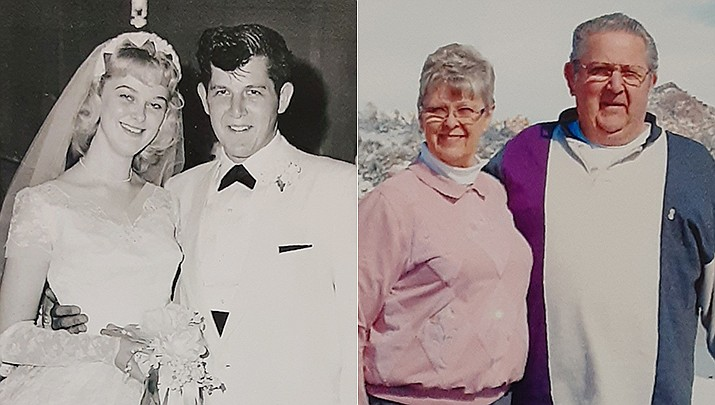"""Darnell """"Goldie"""" and Carol Goldsmith were married on June 17, 1961, in Christ the King Lutheran Church in Torrance, California. They are celebrating their 60th anniversary this year. The couple is shown then and now. (Courtesy photos)"""