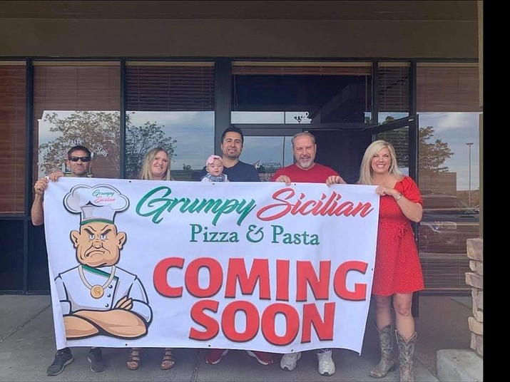 The Grumpy Sicilian, a popular Italian eatery at 126 S. Montezuma St., recently announced plans to open a second restaurant at the former Streets of New York next to the Prescott Valley Fry's, 3100 Glassford Hill Road. Owner/operator Sal Anzelmo, second from right, said he wants to open in Prescott Valley by early July. (Courtesy)
