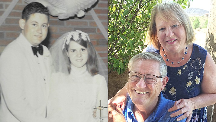 Wes and Peggy McQuaid will celebrate their 50th wedding anniversary on Monday, June 21. They exchanged vows at the Big Branch Church of God in Chesapeake, Ohio, on June 21, 1971, with the groom's grandfather, Rev. Gleo H. McQuaid, officiating the ceremony.The couple is shown then and now. (Courtesy photos)