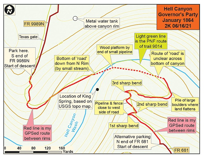 Contoured map of Hell Canyon crossing. (Nigel Reynolds/Courtesy)