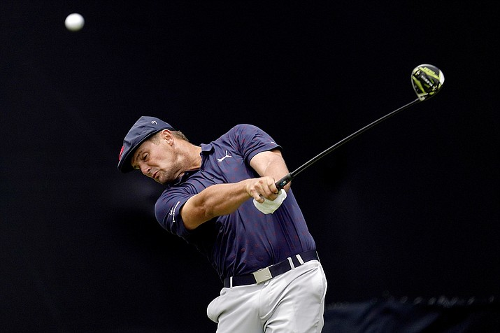 Bryson DeChambeau plays his shot from the seventh tee during the third round of the U.S. Open Golf Championship, Saturday, June 19, 2021, at Torrey Pines Golf Course in San Diego. (Gregory Bull/AP)