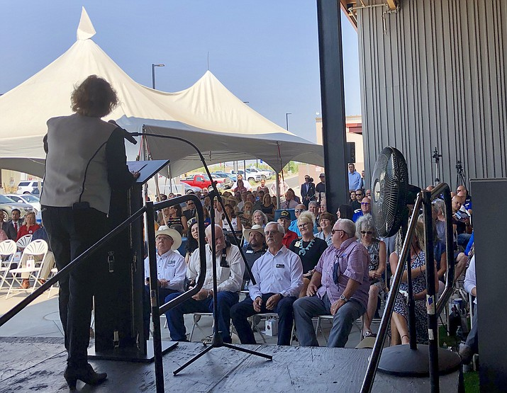 Prescott Airport Director Robin Sobotta talks to a crowd of more than 200 people who gathered at the new passenger terminal for the Prescott Regional Airport Friday morning, June 18, 2021 for a dedication ceremony. (Cindy Barks/Courier)
