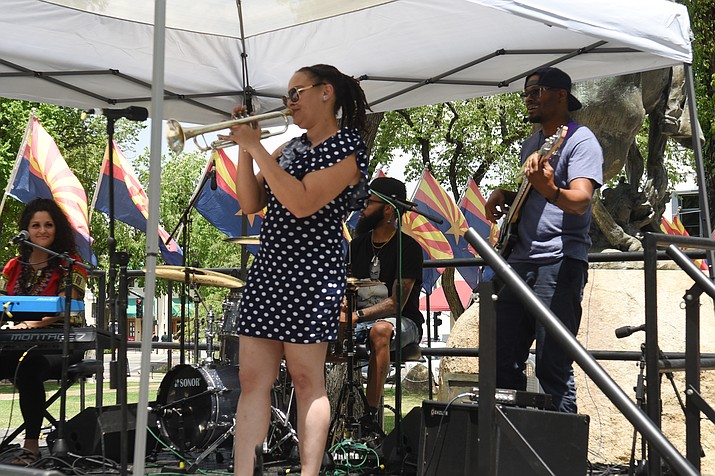 Diversity performs at the Yavapai County Courthouse plaza for the Juneteenth Jazz Splash on Saturday, June 19, 2021. An audience of more than 100 people attended the event. (Jesse Bertel/Courier)