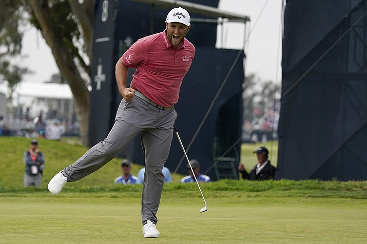 Jon Rahm, of Spain, reacts to his putt on the 17th green during the final round of the U.S. Open Golf Championship, Sunday, June 20, 2021, at Torrey Pines Golf Course in San Diego. (Marcio Jose Sanchez/AP)