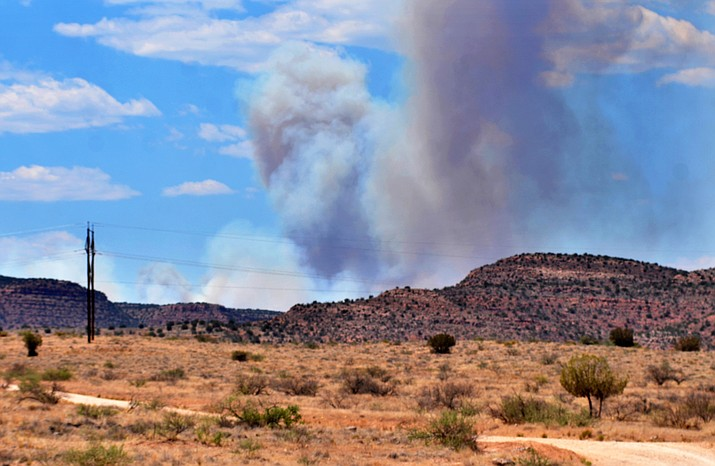 The lightning-ignited Rafael Fire can be seen from Sycamore Canyon Road. It grew significantly Sunday, according to InciWeb website. VVN/Vyto Starinskas