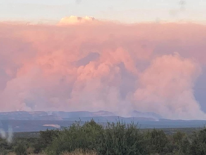 Smoke covers the distant mountains in Perkinsville as the Rafael Fire grew to nearly 20,000 acres Monday, June 21, 2021. The Rafael Fire is burning four miles north of Perkinsville in Yavapai County and east of Highway 89. (YCSO/Courtesy)