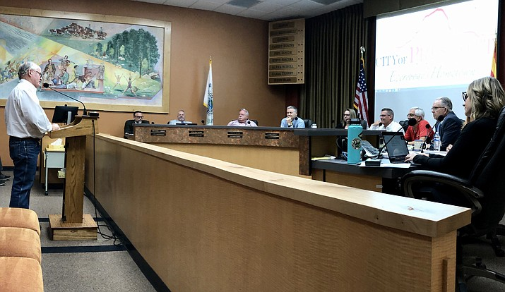 Former state Sen. Steve Pierce urges the council to move ahead in approving the AED project Tuesday, June 22, 2021. (Cindy Barks/Courier)