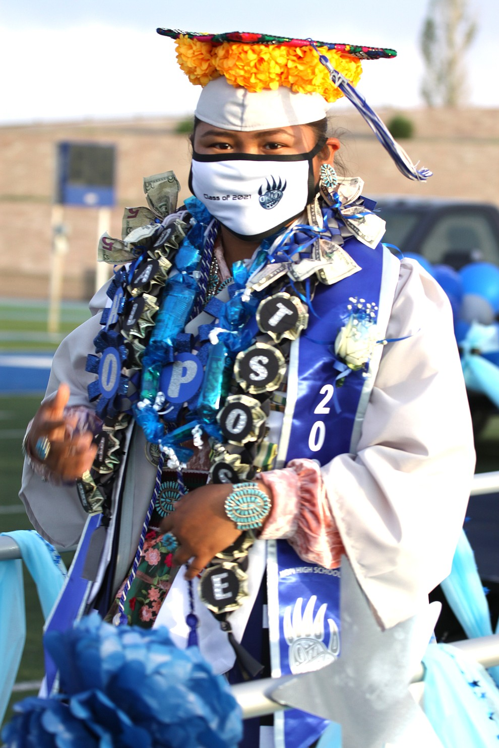 Hopi High graduate Dalilah Tsosie joined her classmates as they celebrated the 2021 graduation at Hopi High School June 15 in Polacca, Arizona. (Photo courtesy of Valerie Martin)