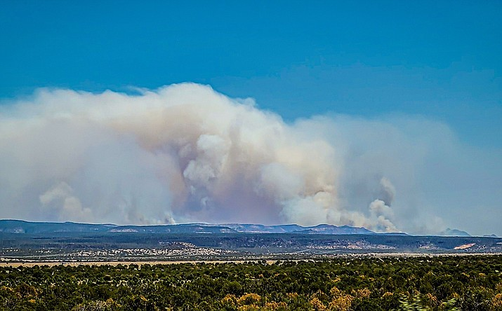 The Rafael Fire as seen from Highway 89 near Drake Cement June 21. The fire was discovered on June 18 and is located in the Sycamore Canyon area. (Photo/Chris Acosta)
