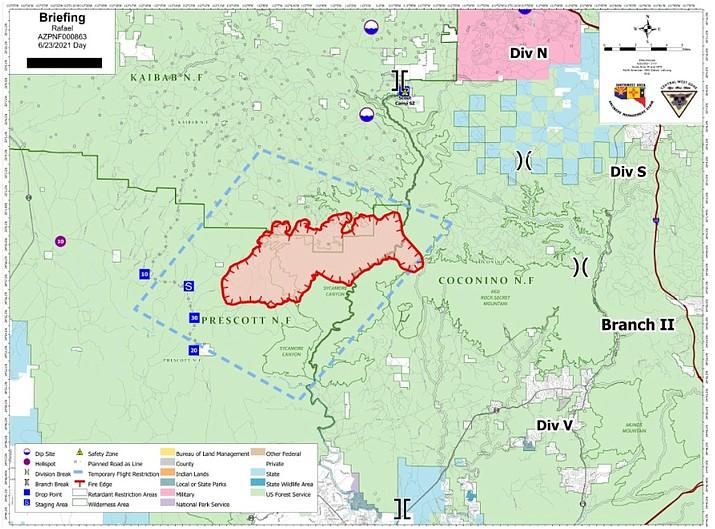 Rafael Fire map June 23. (Map/Inciweb)