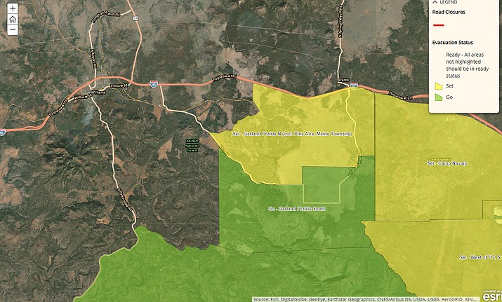 Areas of South Garland Prairie are being evacuated because of the Rafael Fire. Areas in green are the areas being evacuated. (Photo/CCSO)