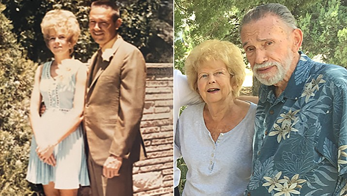 John and Maryann Carter were married at Emmanuel Faith Community Church in Escondido, California, on July 4, 1971. The couple is shown then and now. (Courtesy)
