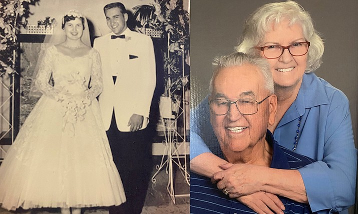 Edward and Patricia Pullan were married 65 years ago on June 30, 1956, in Salt Lake City, Utah. The couple is shown then and now. (Courtesy)