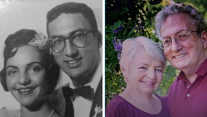 Rick and Rosalie Malter in 1961 and in 2017.