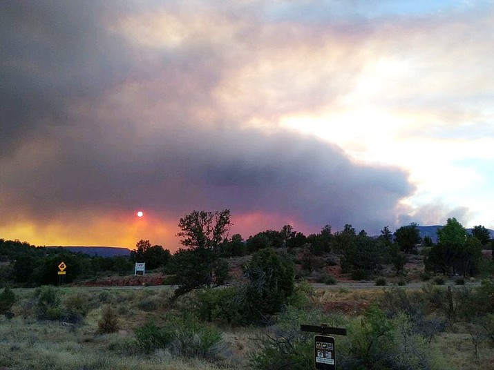 Smoke rises from the Rafael Fire on Sunday, June 27, 2021. The photo, taken from Highway 89A in west Sedona, shows the smoke drifting toward the quad-city area, which had heavy smoke Sunday evening. (YCSO/Courtesy)