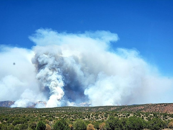 In the distance, smoke billows toward the sky from the Rock Butte Fire north of Paulden on June 21, 2021. With more than a dozen fires in the state of Arizona and dry temperatures this summer, Yavapai County has issued an order banning all outdoor fires. (YCSO/Courtesy)