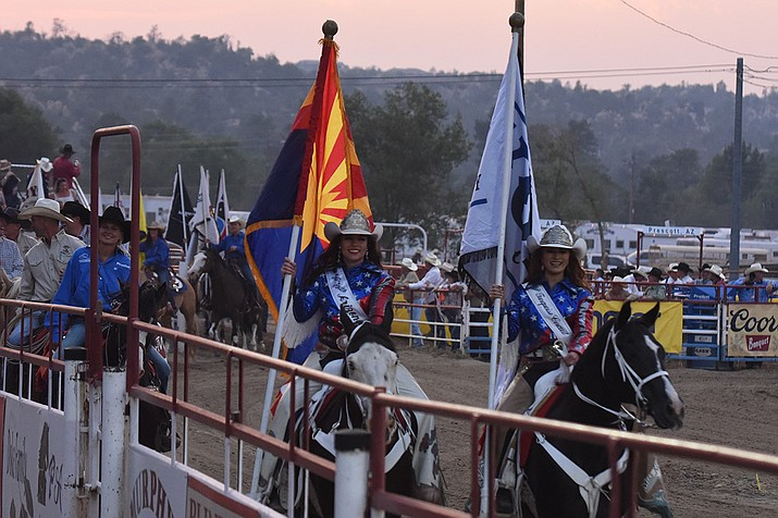 """The grand entrance at the """"World's Oldest Rodeo"""" on Monday, June 28, 2021. (Jesse Bertel/Courtesy)"""