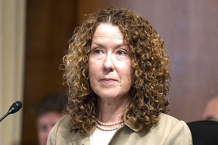 Tracy Stone-Manning listens during a confirmation hearing for her to be the director of the Bureau of Land Management, during a hearing of the Senate Energy and National Resources Committee on Capitol Hill in Washington. (AP Photo/Alex Brandon, File)