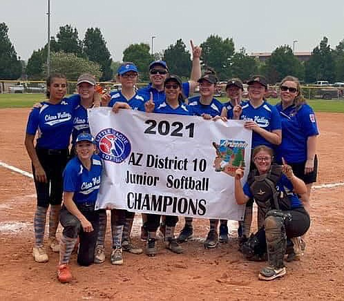 The Chino Valley Little League junior softball team won the District 10 championship on Saturday, June 26, 2021, in Verde Valley. (Chino Valley Little League/Courtesy)