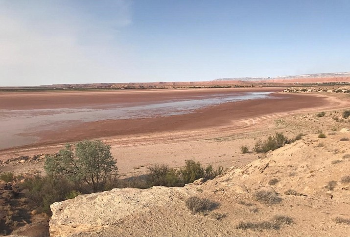 The current condition of Many Farms Lake brought on by the effects of the ongoing drought impacting Navajo farmers.  (Photo courtesy of Johnson Bia, Many Farms Irrigation Office)