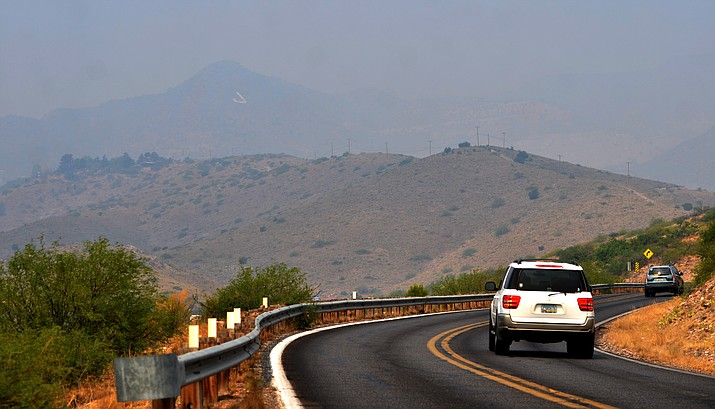 """Heavy smoke throughout the Verde Valley has rendered the Jerome mountainside """"J"""" barely visible this week. VVN/Vyto Starinskas"""