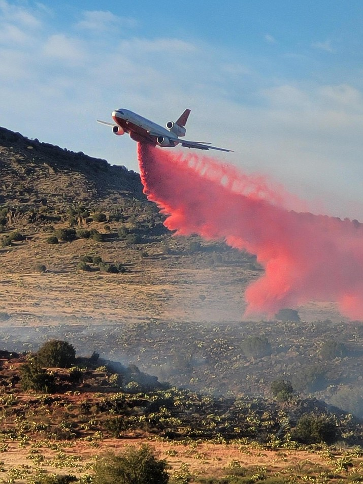 A tanker drops fire retardant on the Yellow Fire, which began Wednesday, June 30, 2021. (Prescott National Forest/Courtesy)