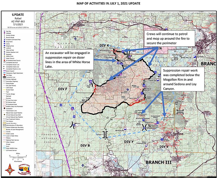 The Rafael Fire as of July 1, 2021. (PNF/Courtesy)