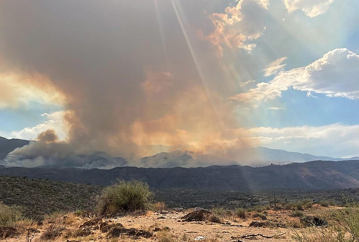The Tiger Fire, which is burning near Crown King - southeast of Prescott - began June 30, 2021, from a lightning strike. (Inciweb)