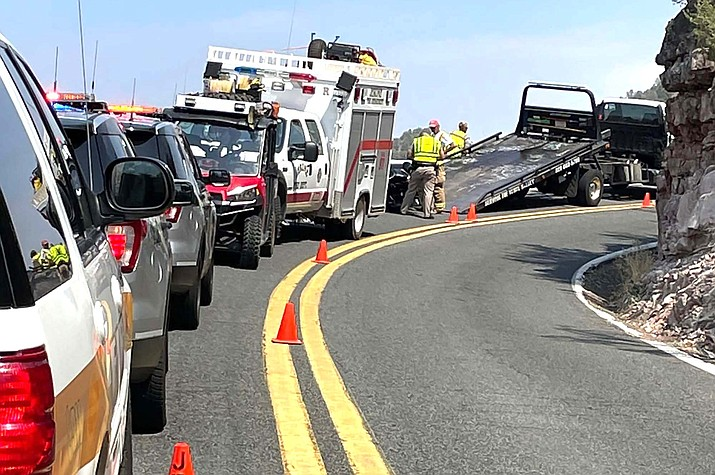 The single-vehicle motorcycle crash occurred at 12:38 p.m. at mile-post 340 in the northbound lane south of Jerome on Saturday, DPS said. The driver was identified as Richard George, age 49, of Phoenix, according to DPS. Photo by the Jerome Fire Department