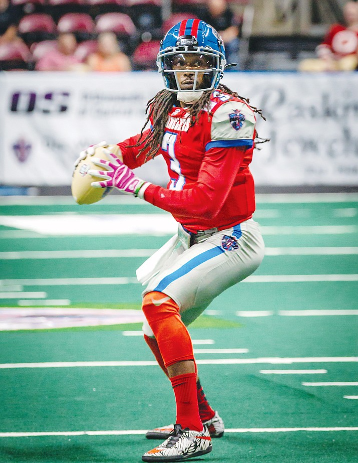Northern Arizona Wranglers quarterback Verlon Reed Jr. surveys the field during a game against the Tucson Sugar Skulls on Saturday, June 26, 2021, at the Findlay Toyota Center in Prescott Valley. The Indoor Football League awarded Reed Jr. with an Offensive Player of the Week recognition after he led the way to the Wranglers' first win as a franchise over the Sugar Skulls 48-44. (NAZ Wranglers/Courtesy)