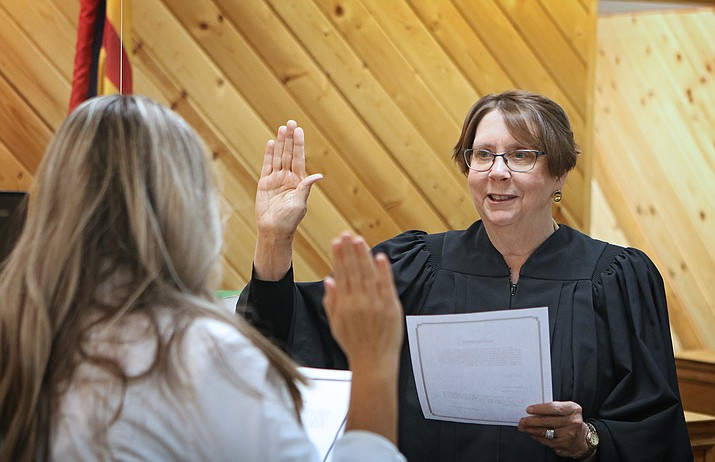 Joan Dwyer, right, is sworn in by Chino Valley Town Clerk Erin Deskins to be the new Presiding Magistrate for the Chino Valley Municipal Court on Tuesday, June 29, 2021. (Matt Santos/Courtesy)