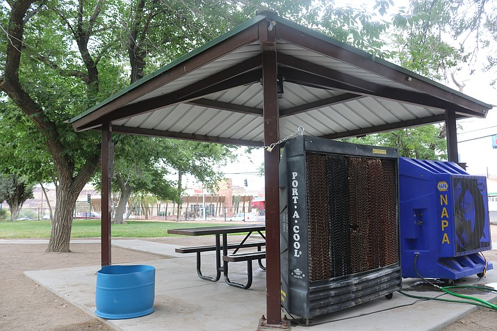 The City of Kingman will erect cooling stations, like the one shown in the above file photo, after the National Weather Service issued an Excessive Heat Watch for the Kingman area from 8 a.m. Wednesday, July 7 to 8 p.m. Monday, July 12. (Miner file photo)