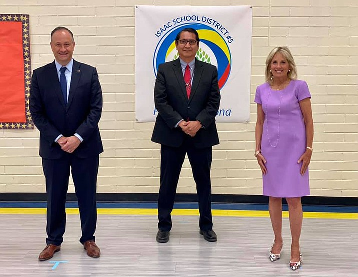 Navajo Nation President Jonathan Nez (center) greets First Lady Jill Biden and Douglas Emhoff in Phoenix June 30. (Photos/Office of the Navajo President)