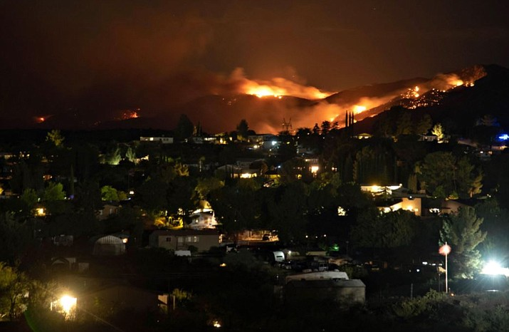 The Tiger Fire the night of Tuesday, July 6, 2021, view from the Incident Command post. (Inciweb)
