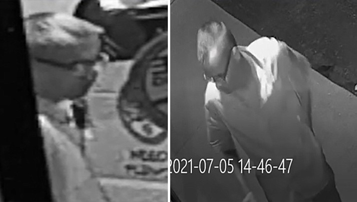 Prescott Valley Police officials are seeking information about this man whom they suspect of criminal damage to three businesses' doors and windows in the 8500 block of East Florentine, between July 1 and 4, 2021. (PVPD/Courtesy)
