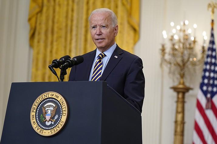 President Joe Biden speaks in the East Room of the White House, Thursday, July 8, 2021, in Washington. (Evan Vucci/AP)