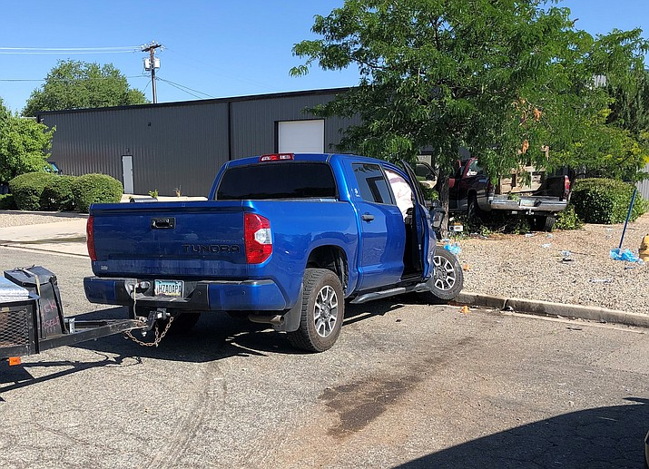 This blue Toyota truck was involved in a collision Friday, July 9, 2021, when it was struck by a Dodge truck. The driver of the Dodge died at the scene in Prescott. (PPD/Courtesy)