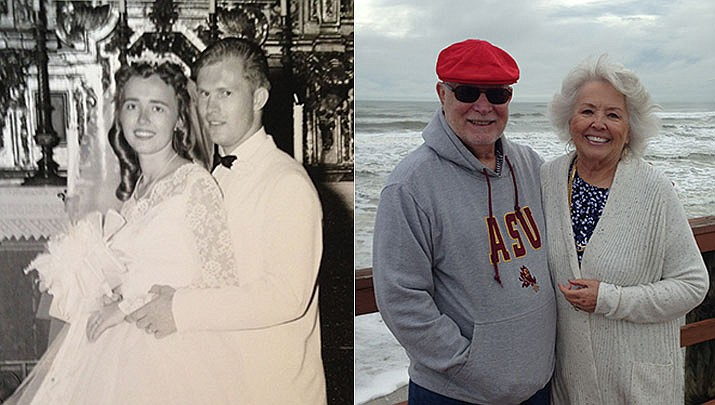 David and Donna Orman were married June 24, 1961. They tied the knot at the Mission Inn in Riverside, California. The couple is shown then and now. (Courtesy)