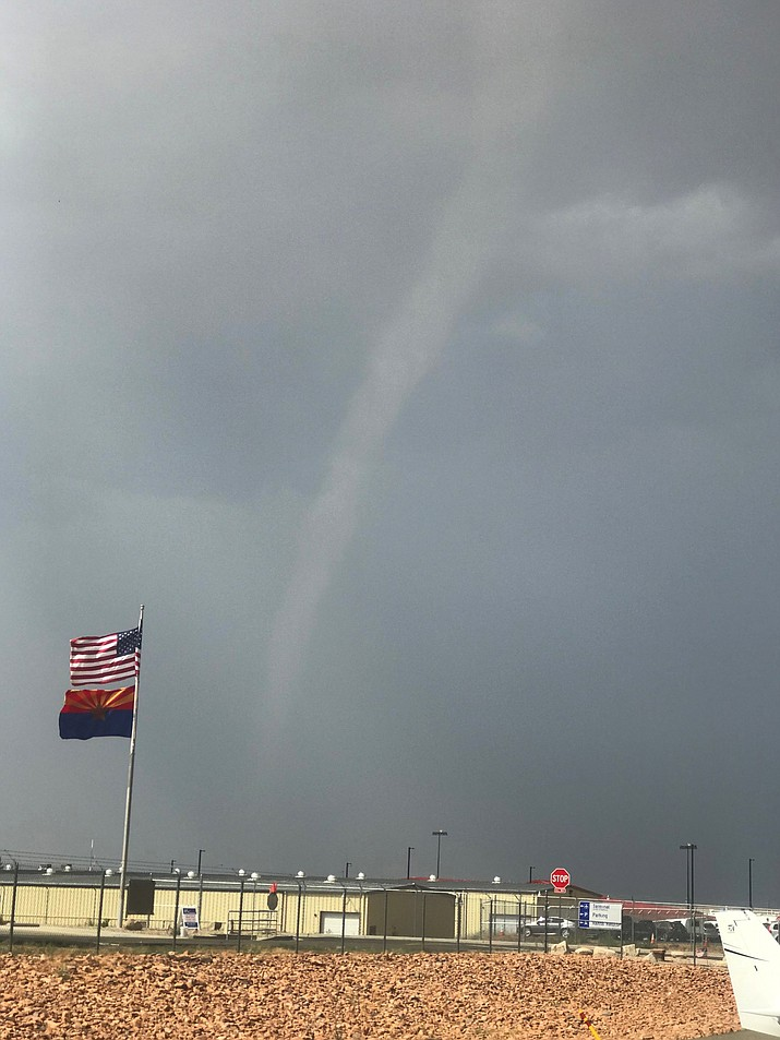 What appears to be a funnel cloud over the Prescott Regional Airport on Sunday afternoon, July 11, 2021, was one reason the airport shut down for about an hour. (Jim Slaughter/Courtesy)