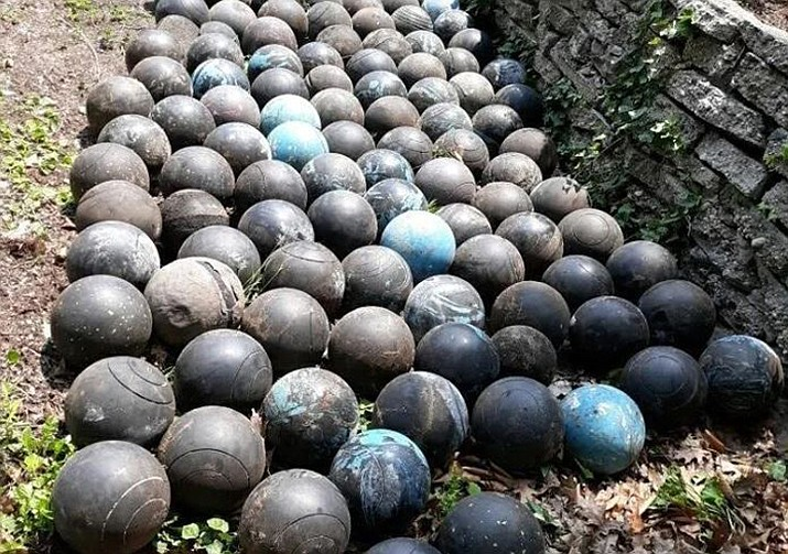 David Olson's final count of buried bowling balls totaled 160, though he said there are definitely more still buried. (Courtesy)
