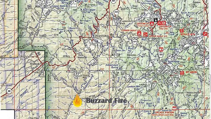 The location of the Buzzard Fire, south of Prescott. (Prescott National Forest)