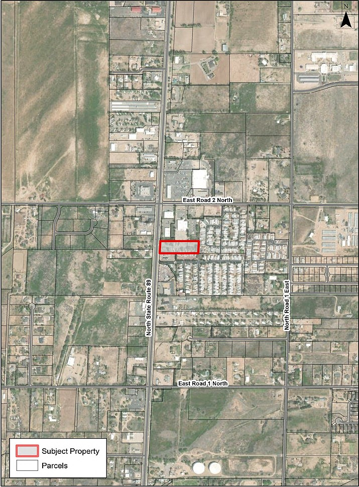 This map illustration shows the area near the intersection of Road 2 North and Highway 89 in Chino Valley that is being requested for a rezone of approximately 2.21 acres of real property from Commercial Light to Commercial Heavy with a Planned Area Development to develop a Recreational Vehicle Park. The item was discussed by the Chino Valley Planning and Zoning Commission during a meeting on Tuesday, July 6, 2021, and ultimately forward to the town council. (Town of Chino Valley/Courtesy)