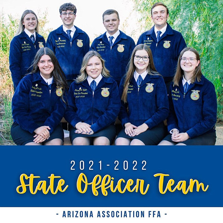 """Kori Hewitt, top left, recently graduated from Chino Valley High School and was also a standout student with the Chino Valley FFA. In May, Hewitt was elected as a candidate to be an Arizona Association FFA state officer and on June 30, 2021, it was announced that she was named a Vice President At-large for the organization. """"It's awesome getting to be the third state officer in the past four years from Chino Valley and it's like living a dream,"""" Hewitt said. Hewitt went through a three-day interview process for the position and was elected four days later. She admitted that the process was one of the most """"difficult"""" and """"stressful"""" things she's ever been through but it was also """"rewarding."""" As a VP At-large, Hewitt will be tasked with help with putting on state events, conferences and travel across the state to visit FFA chapter and network with the students. (Arizona FFA, Facebook/Courtesy)"""