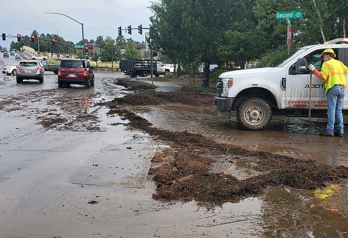 Flash flooding has hit portions of Flagstaff because of recent storms. (Photo/ADOT)