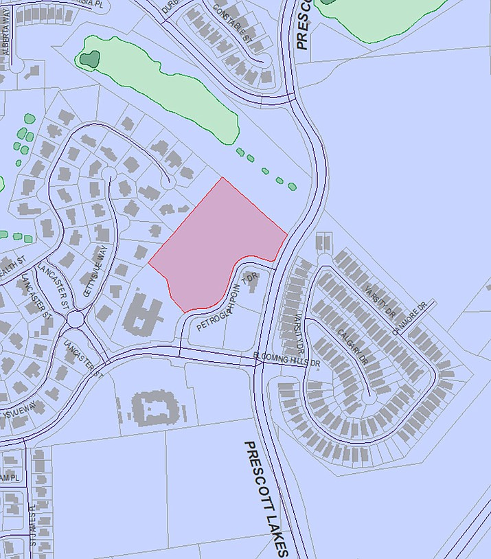 Shown is a map of the possible development at the Petroglyph Pointe Office Park parcel near Prescott Lakes Parkway. (City of Prescott/Courtesy)