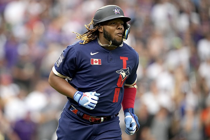 American League's Vladimir Guerrero Jr., of the Toronto Blue Jays, runs out his solo home run during the third inning of the MLB All-Star baseball game, Tuesday, July 13, 2021, in Denver. (David Zalubowski/AP)