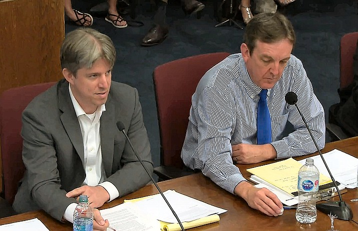 Doug Logan, CEO of Cyber Ninjas, tells GOP lawmakers about irregularities he said have been found so far in the review of Maricopa County ballots and equipment. With him is Ken Bennett, who is the Senate's liaison with the audit. (Capitol Media Services photo from video feed)